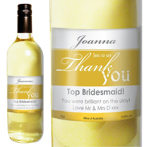 White Wine With Personalised Thank You Label In Gift Box - Harringtons
