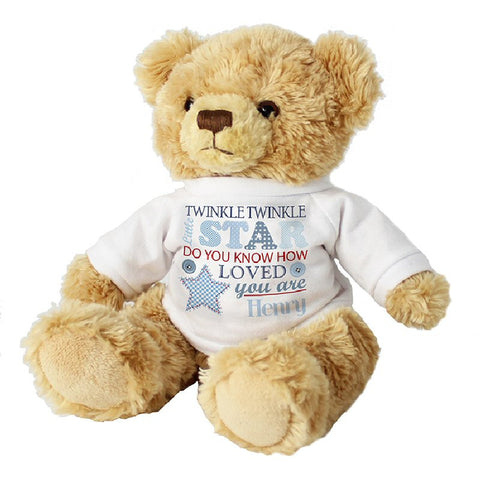 Blue Twinkle Twinkle Little Star Personalised Teddy Bear - Harringtons