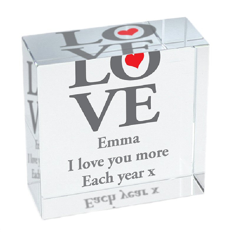 Personalised Love Design Valentine's Day Crystal Token - Harringtons