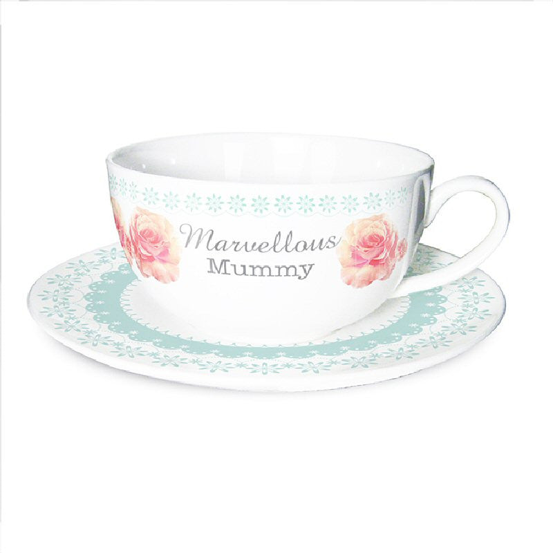 Vintage Rose Personalised Teacup & Saucer - Harringtons