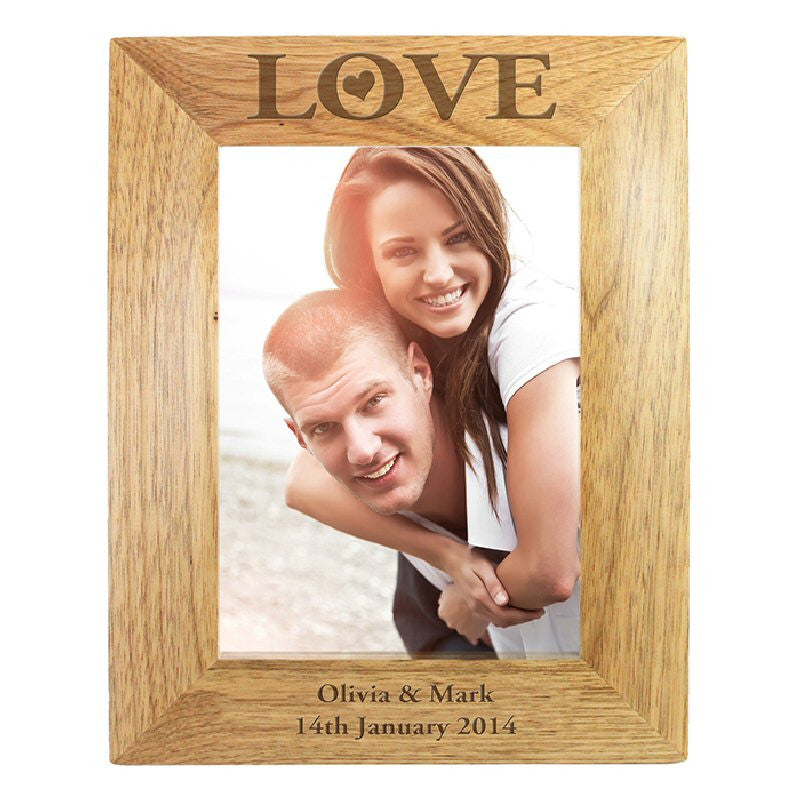 Personalised Wooden Love Valentine Photo Frame - Harringtons