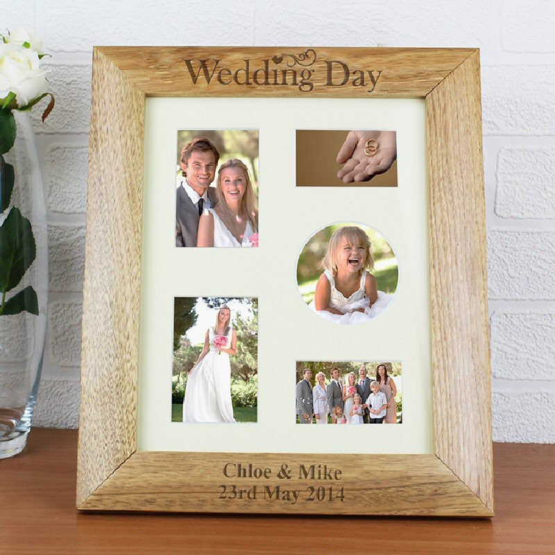 Engraved Wedding Day Wooden Photo Frame - Harringtons