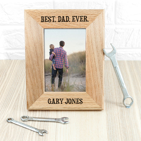Best Dad Ever Personalised Oak Photo Frame