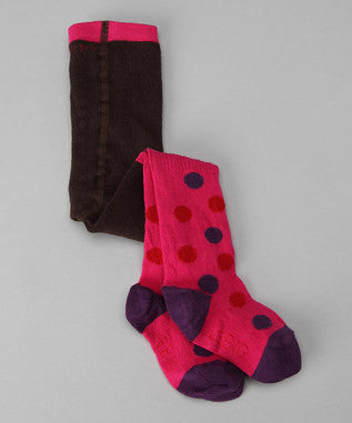 Baby Girl Organic Cotton Footed Tights - Pink Polka Dot CLERANCE