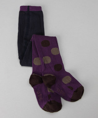 Baby Girl Organic Cotton Footed Tights - Dark Purple Big Polka Dot CLEARANCE