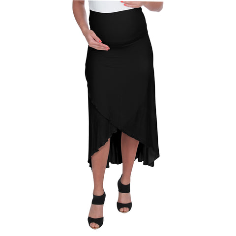 Hi-Low Maternity Skirt with Fold Over Belly Panel -- FINAL CLEARANCE