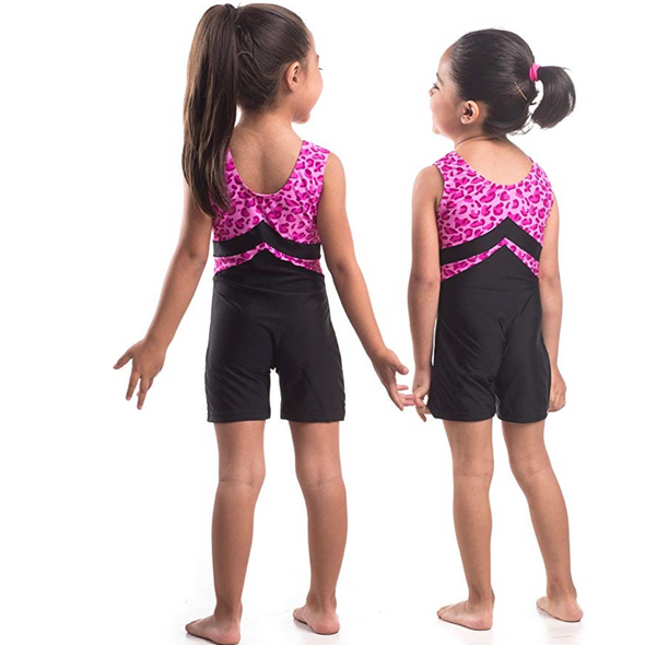 Smart Stretch Girl Gymnastics Biketard - Black Lycra with Pink Leopard Lycra