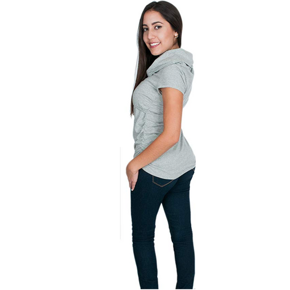 Empire Waist Nursing Top - Short Sleeves, Cowl Neck CLEARANCE