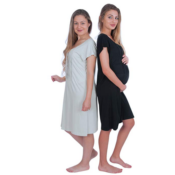 Pintuck Short Sleeve Nursing Sleepwear Breastfeeding/Nightgown CLEARANCE