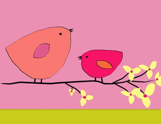 Printable Wall Art for Kids - Birds on branch (pinks)