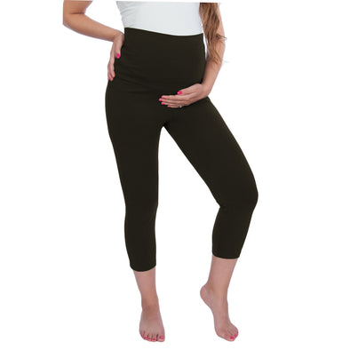 Maternity Yoga Capri Leggings Pants, Fold Over Waist Band Over/Under Belly