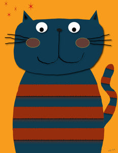 Printable Wall Art for Kids - Cat Blue on Mango