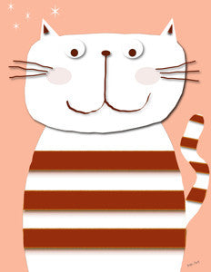 Printable Wall Art for Kids - White Cat on Pink