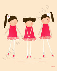 Printable Wall Art for Kids - Dancers in Red