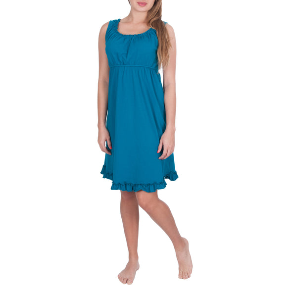 Sleeveless Nursing Nightgown with Elasticated Neck Pull-down Access CLEARANCE