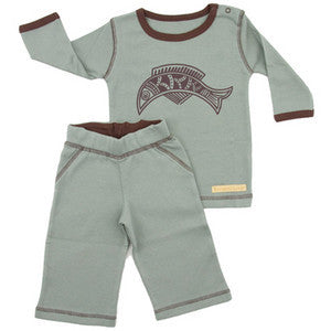 Organic Cotton Yoga Baby Outfit 2 Piece (Pants and Long Sleeve Top) - Fish CLEARANCE