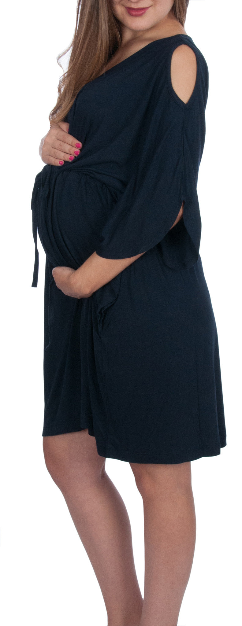 Kaftans Maternity Hospital Gown Ankle length Maternity Robe Purple Front and Snaps down back gown delivery To be Mom Kimono Robe Pregnant