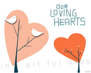 Wall Art for Kids - Our Loving Hearts (white)