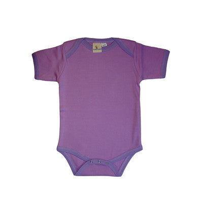Lukeeno Organic Cotton Onesie ~ Lilac with Purple trim