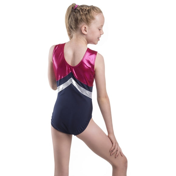 Smart Stretch Girl Gymnastics Leotard - Aerial Navy/Pink