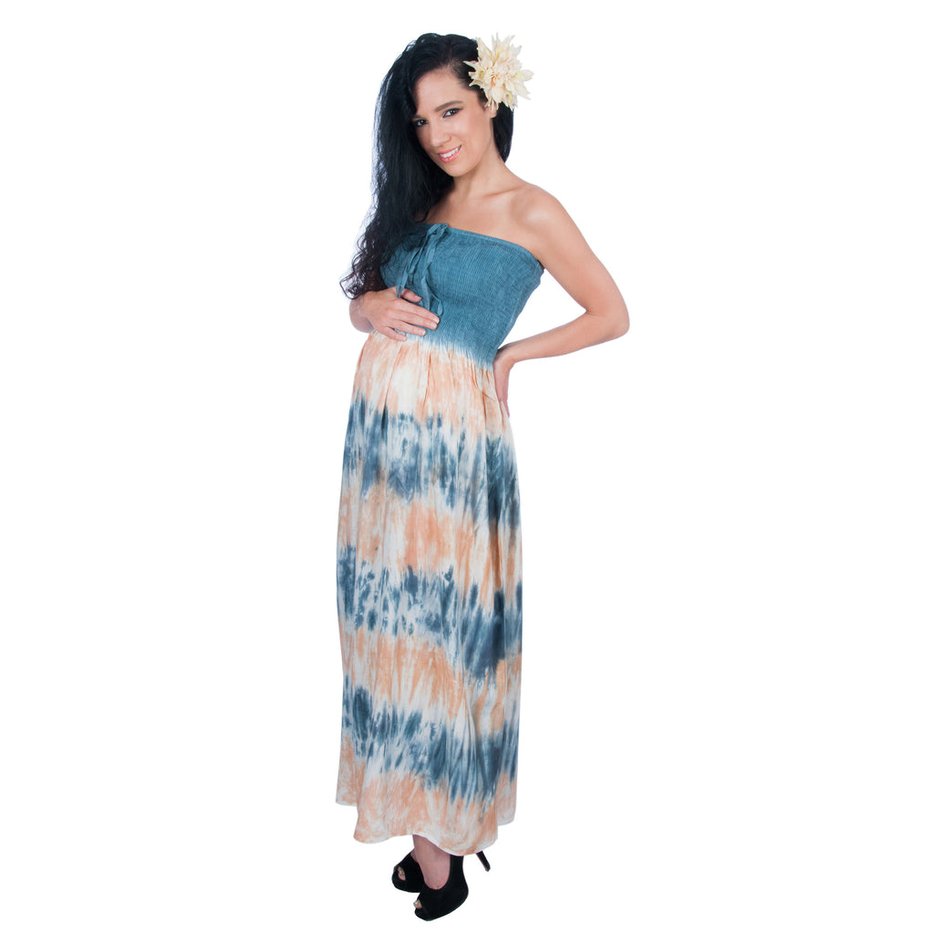 Designer Tie Dye Maternity Maxi Long Dress Smocked Halter Tube -- FINAL CLEARANCE