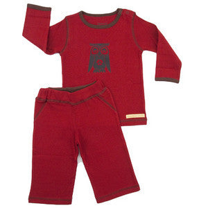 Organic Cotton Baby Yoga Outfit 2 Piece (Pants and Long Sleeve Top) - Owl CLEARANCE