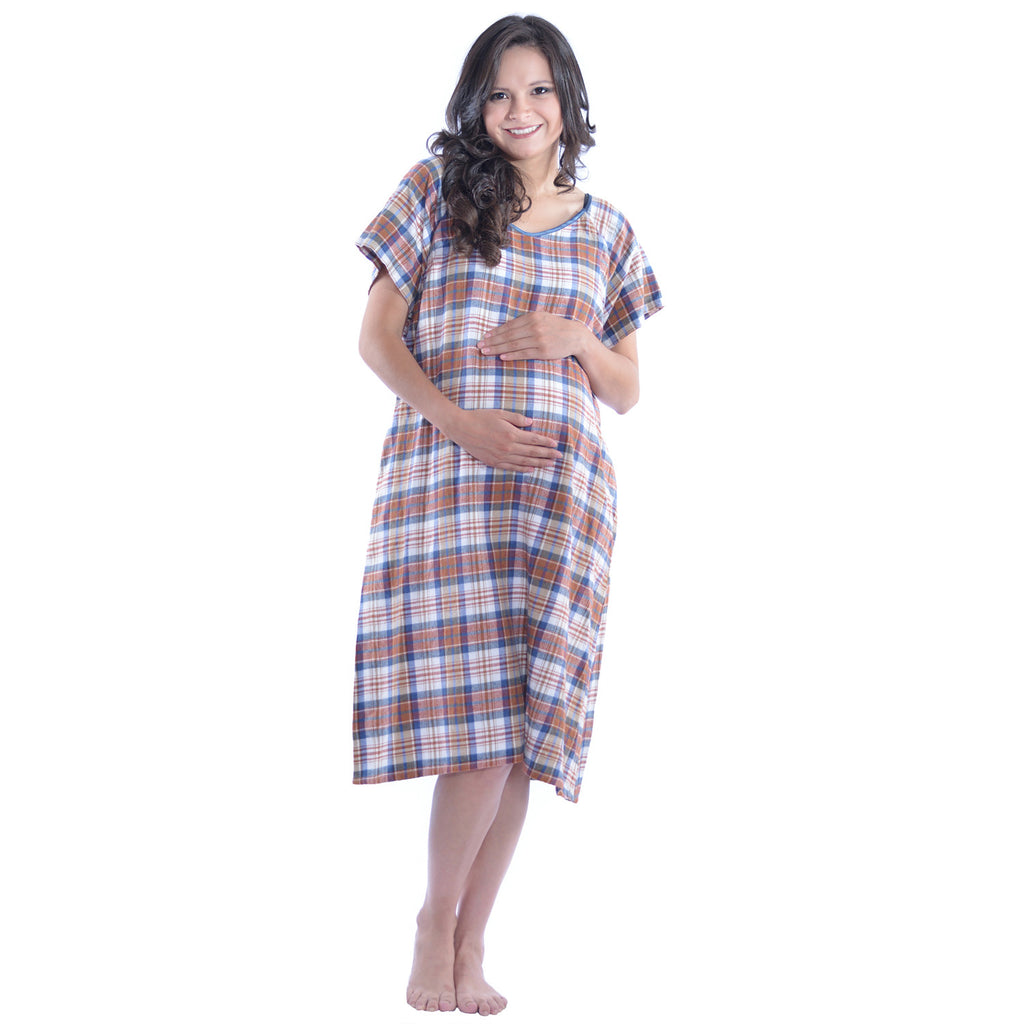 Hospital Maternity Delivery Gowns - Cozy Cotton Flannel – My Bella Mama™