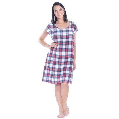 Short Sleeve Nursing Sleepwear Breastfeeding/Nightgown - Cozy Flannel