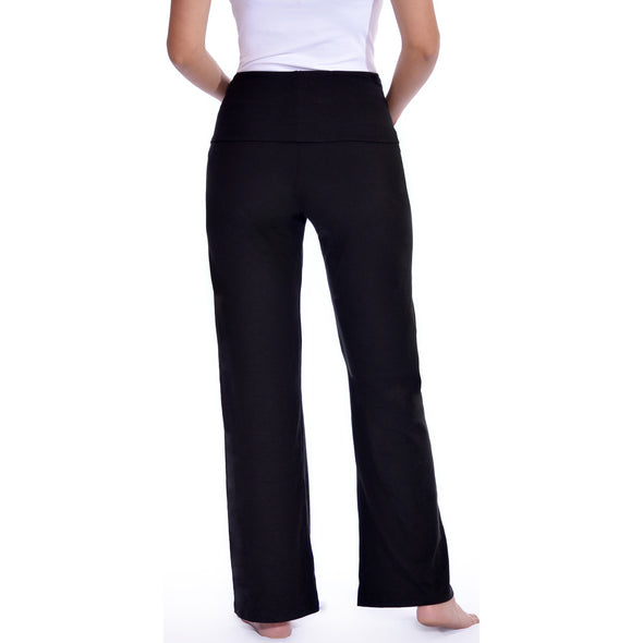 Maternity Cotton Lounge Yoga Pants Stretchy Fold Over Waist Band
