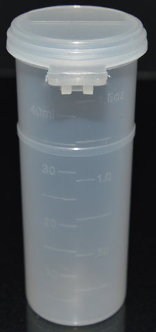 50ml (1.7oz) 3-Seal Touch-Top Container Vials, Tall with Graduations and Locking Latch, 150/Case