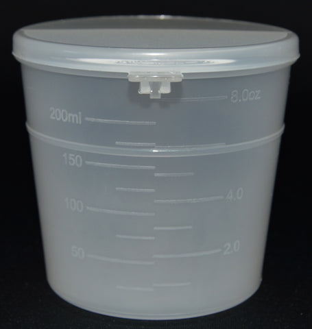 240ml (8oz) 3-Seal Touch-Top Containers with Graduations and Locking Latch, 25/Case