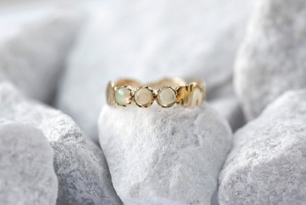 Three Opal Banana Leaf Ring