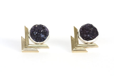 Chevron Druzy Earrings - Purple