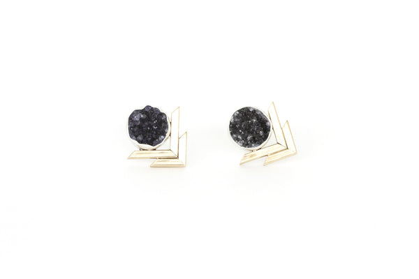 Druzy Chevron Earrings - Black