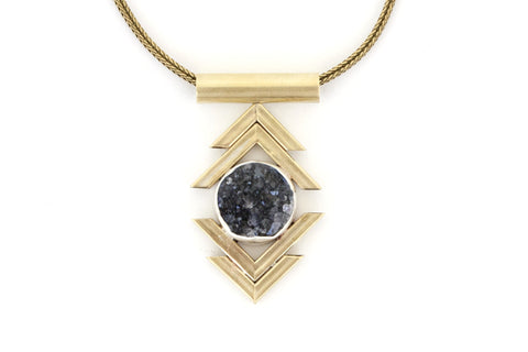 Double Chevron Necklace - Black Druzy