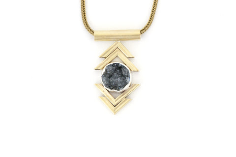 Double Chevron Necklace - Grey Druzy
