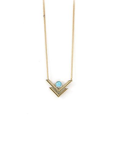 Double V Necklace - Turquoise