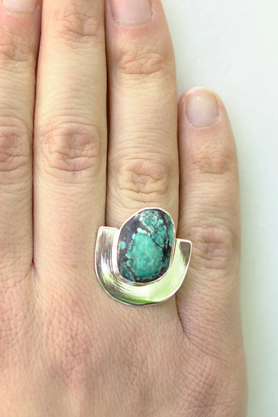 One of a Kind Turquoise U Ring