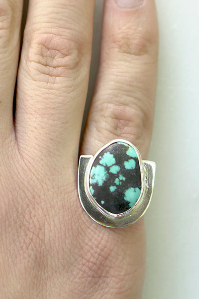 One of a Kind Turquoise U Ring - Black Matrix
