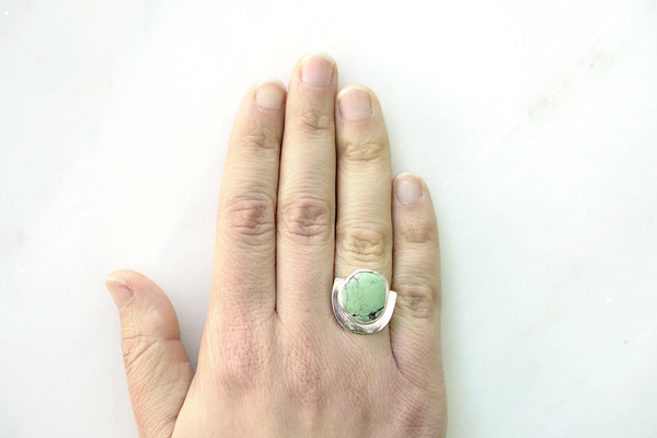 One of a Kind Turquoise U Ring - Light Blue/Green