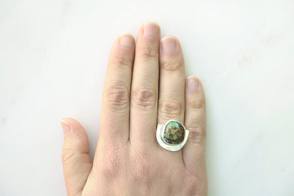 One of a Kind Turquoise U Ring - Blue and Brown