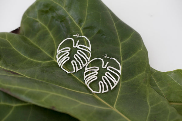 Hawaiian Leaf Hoop Earrings