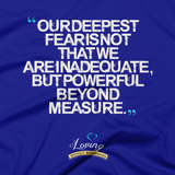 """Infinite Possibilities / Deepest Fear"" T-shirt – Lapis"