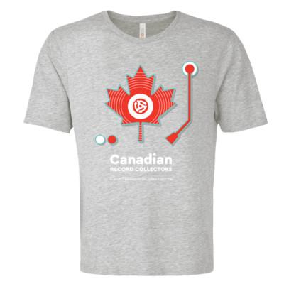 Canadian Record Collectors Tee With Tonearm and ButtonsMerchandiseXSAthletic Grey