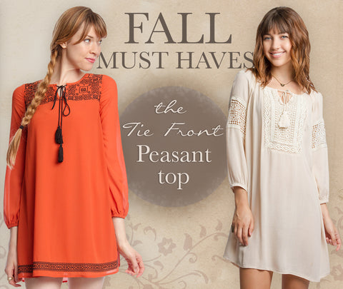 FALL MUST HAVES: The Tie Front Peasant Top