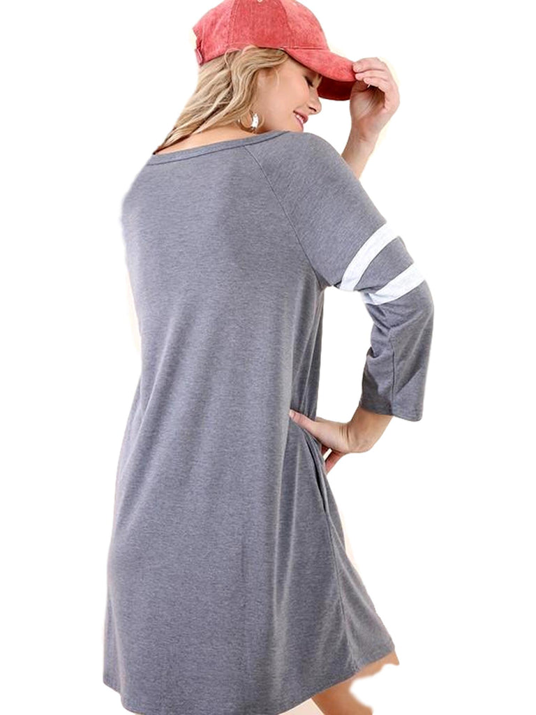 3/4 Athletic Stripe Sleeve Pocket Dress with a Front Neck Cutout, Charcoal