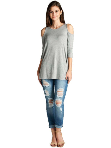 3/4 Slve Open Shoulder Top, Heather Grey-CASUAL TOPS-Active Basic-Chic Boutique and Gift Emporium