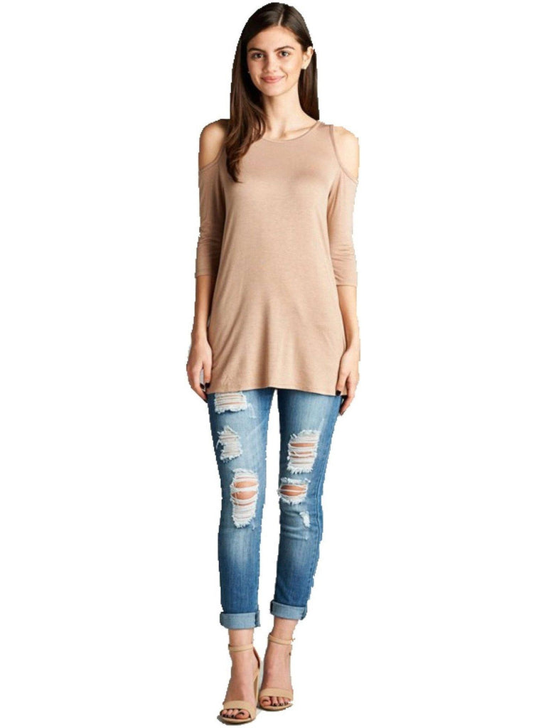 3/4 Slve Open Shoulder Top, New Khaki-CASUAL TOPS-Active Basic-Chic Boutique and Gift Emporium