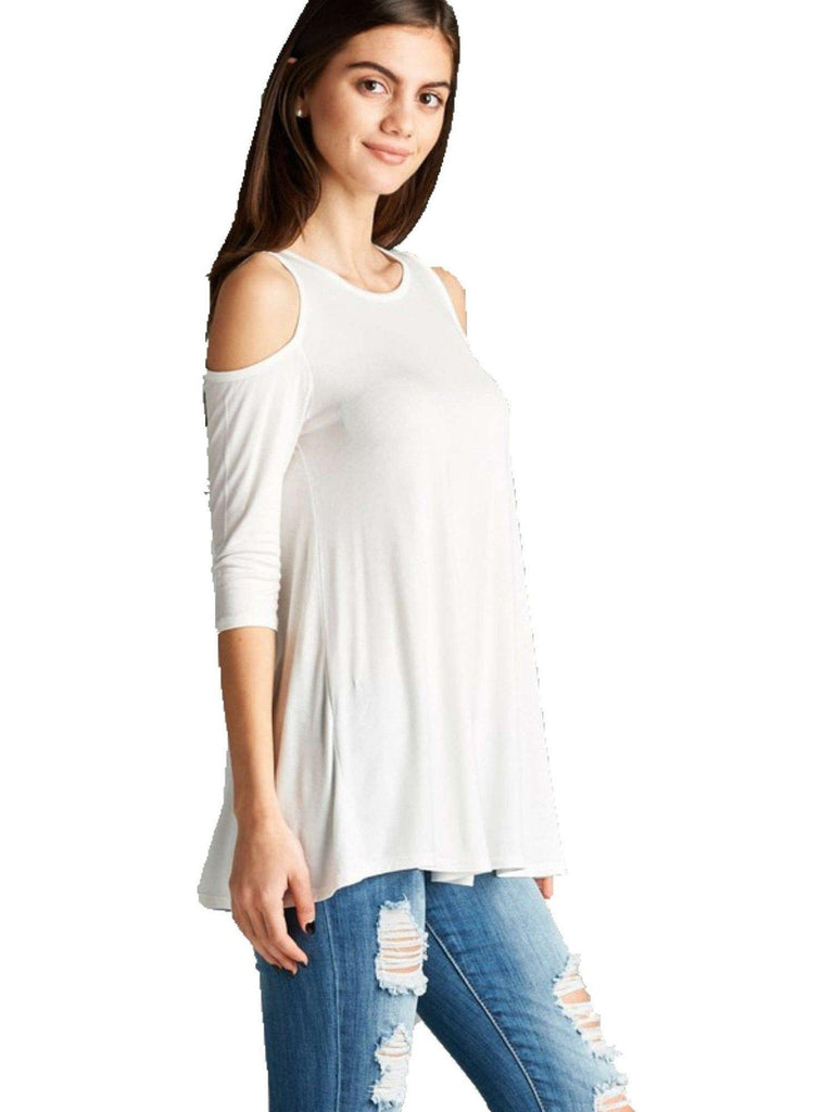 3/4 Slve Open Shoulder Top,OW-CASUAL TOPS-Active Basic-Chic Boutique and Gift Emporium