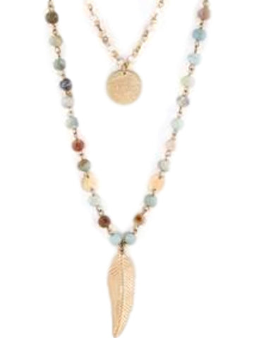 Stone Beads, Charm Layered Necklace, Mint